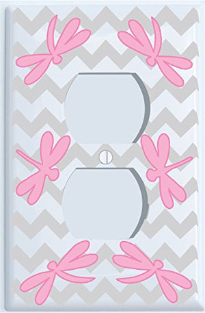 Pink Dragonfly Switch Plate Covers/Dragonfly Nursery Wall Decor