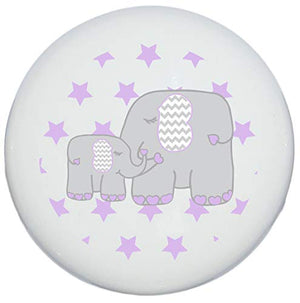 Single Purple Elephant Drawer Pull Knob with Stars/Mother and Baby Elephant Cabinet Handles Nursery Decor