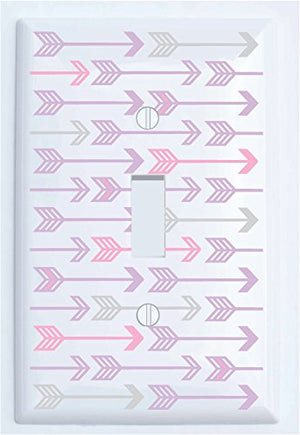 Pink, Grey and Purple Arrow Print Light Switch Plate and Outlet Covers/Arrows Woodland Nursery Wall Decor for Baby Girls