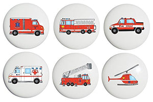 Fire Truck Drawer Knobs / Ceramic Drawer Pulls