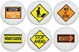 Construction Street Sign Drawer Knobs Children's Ceramic Cabinet Road Sign Handle Pulls (Set of 6)