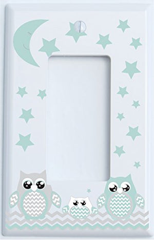 Grey and Seafoam Green Owl Light Switch Wall Plate Covers and Outlet Covers/Owl Nursery Decor