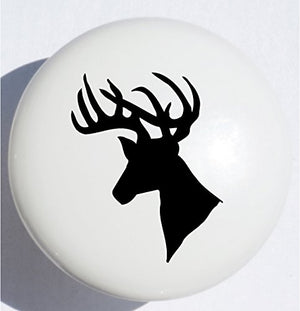 Single Black Stag Deer Head Drawer Pull / Ceramic Cabinet Knob / Woodland Animal Nursery Decor