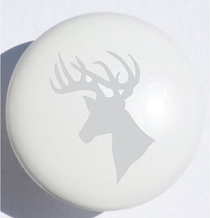 Single Grey Stag Deer Print Drawer Pull / Ceramic Cabinet Knob / Gray Woodland Animals Nursery Decor