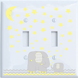 Yellow Elephant Light Switch Plate and Outlet Covers with Yellow Moon and Stars / Elephant Nursery Wall Decor with Grey and Yellow Chevrons Plates.