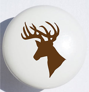 Presto Wall Decals Single Deer Head Drawer Pull/Pink Nursery Stag Ceramic Cabinet Knob