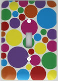 Presto Wall Decals Rainbow Polka Dot Light Switch Plates Covers in Pink, Purple, Blue, Red, Green Yellow, and Orange Dots