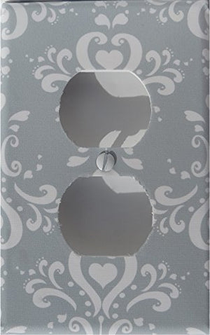 Gray Damask Light Switch Plate and Outlet Covers / Damask Nursery Wall Decor
