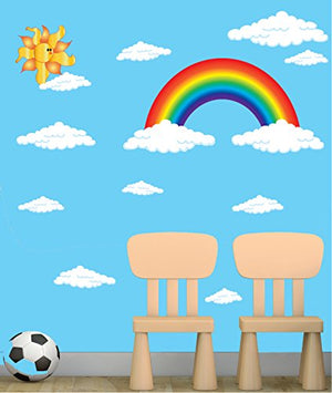 Rainbow Wall Decals, Stickers with Sun and Clouds Wall Decals/Spring Time Rainbow Wall Decor