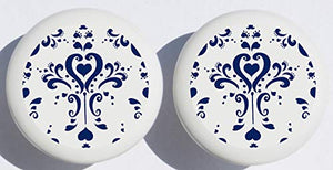 Two Navy Blue and White Damask Drawer Pull Knobs, Ceramic Dresser Cabinet Pulls, Blue and White Nursery Decor (Set of Two)