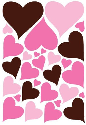 Pink and Brown Heart Wall Decals / Nursery Wall Decor