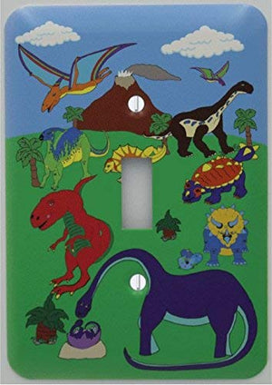 Dinosaur Light Switch Plate Cover / Dinosaur Switchplate Wall Decor with Brontosaurus, Stegosaurus, T Rex, Pterodactyl