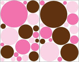 Pink and Brown Polka Dot Wall Stickers / 36 Dots Wall Decals in Light Pink, Bubble Gum Pink and Brown