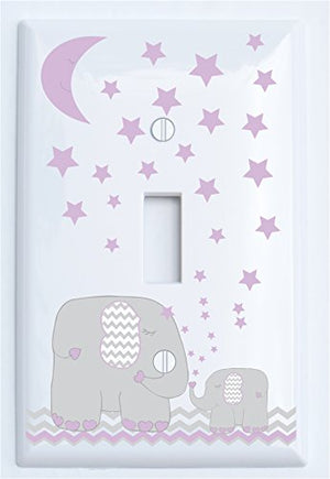 Purple Elephant Light Switch Plate and Outlet Covers with Purple Moon and Stars/Elephant Nursery Decor with Grey and Purple Chevrons.