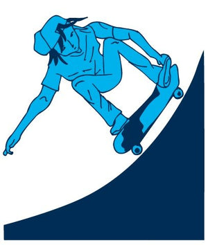 Blue Skater with Half Pipe Wall Sticker Decal