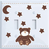 Brown Teddy Bear Light Switch Plate and Outlet Covers with Brown Moon and Stars / Teddy Bear Nursery Decor