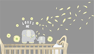 Flowers and Elephant Wall Decals Stickers/Elephant Nursery Wall Decor