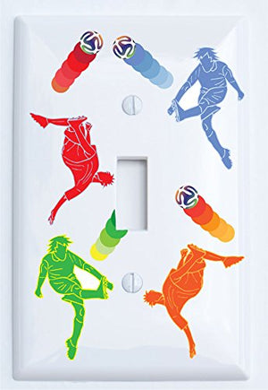 Soccer Light Switch Plates / Boys Soccer Switch Plate with Green, Blue, Red and Orange Soccer Players