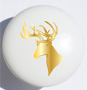 Single Gold Stag Deer Head Drawer Pull / Gold Deer Ceramic Cabinet Knob
