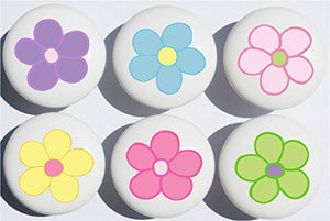 Pastel Daisy Flower Drawer Pulls/Ceramic Nursery Drawer Knobs, Set of 6