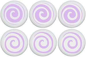 Purple Swirly Spiral Polka Dot Drawer Knobs/Lavender Whimsical Swirls Ceramic Cabinet Pulls for Nursery or Children's Room Decor (Set of 6)