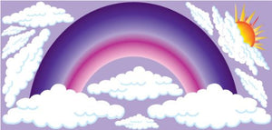 Purple Rainbow Wall Decals/Stickers with Sun and Clouds Wall Decals/Spring Time Wall Decor