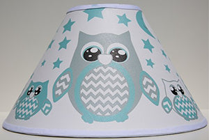Seafoam Green Owl Lamp Shade/Green Woodland Forest Animal Nursery Decor