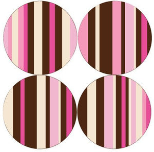 Presto Chango Decals 13in Pink,cream, and Brown Striped Circles