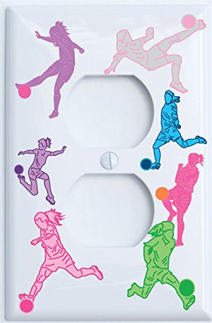Girls Soccer Outlet Covers Switch Plates / Girls Soccer Wall Decor (Outlet Cover)