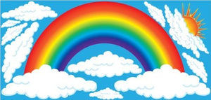 Giant Rainbow Wall Decals with Sun and Clouds Wall Stickers, Nursery Wall Decor