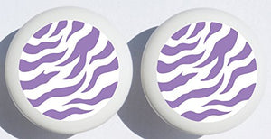Just Purple Zebra Print Drawer Pulls / Polka Dot Ceramic Cabinet Knobs / Safari Nursery Room Decor (Set of Two)