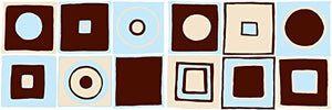 Retro Mod Squares Wall Decals with Circles in Ice Blue or Pink, Dark Brown,and Tan / Modern Geometric Wall Decor