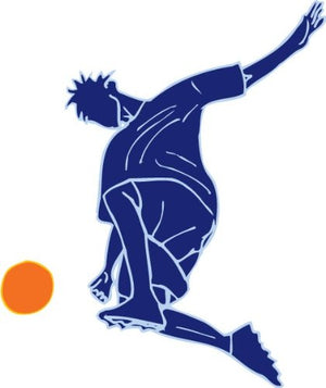 Blue Boys Soccer Player Wall Decal Stickers Decor