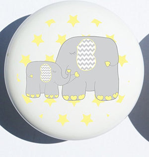 Single Yellow Elephant Drawer Pull Knob/Mother and Baby Elephant Cabinet Handles Nursery Decor