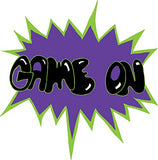 Sports Action Words Saying Wall Decal Stickers/Children's Room Decor in Purple and Green/Game On