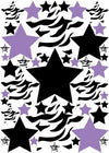 Zebra Print Stars, Purple, and Black Wall Stickers / Decals