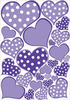 Purple Pastel Polka Dot Heart Wall Decals Stickers