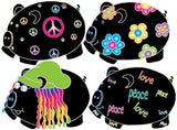 4-Hippie Pigs Wall Decal Stickers on a 18in by 23in sheet.