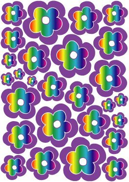 Purple Rainbow Flower Wall Stickers