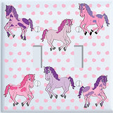Pink and Purple Horse Light Switch Plate Covers for the Wall / Horse Pony Room Decor