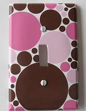 Pink and Brown Polka Dot Light Switch Plate Covers / Single Toggle