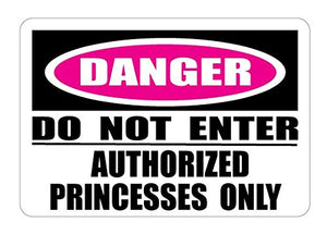 Authorized Princesses Only Danger Do Not Enter Street Sign Wall Decals / Princess Wall Decals Decor / Stickers