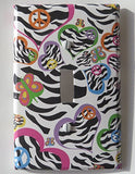 Multi Colored Zebra Print Heart Light Switch Plate Cover in Pink, Purple, Green, Blue, Yellow and Green Hearts