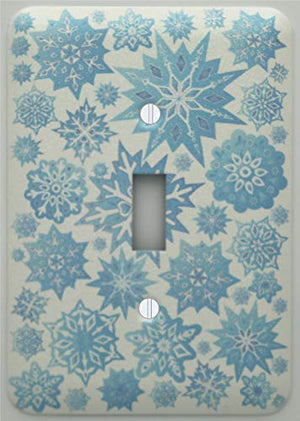Snow Flakes Light Switch Cover Plate in Ice Blue/Snowflake Wall Decor