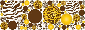 Gold / Yellow and Brown Leopard / Cheetah and Zebra Print Polka Dots Wall Decals / Stickers