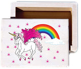 Pink Unicorn Horse and Rainbow Wood Keepsake Collectible Box