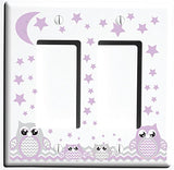 Grey and Purple Owl Light Switch Wall Plate Covers and Outlet Covers / Owl Nursery Decor