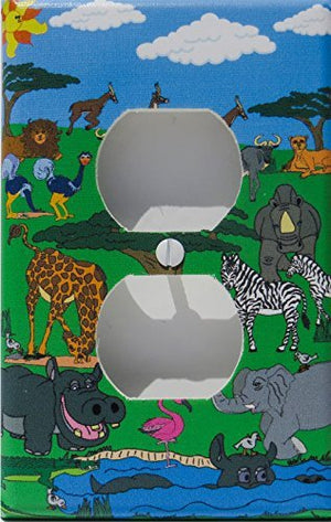 Animals Safari Outlet Switch Plate Cover / Safari Wall Decor with Zebras, Giraffes, Hippos, Elephants, Flamingo, Giselle, and Water Buffalo