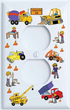 Nylon Double Rocker Construction Light Switch Plates Covers / Construction Trucks and Tractors (Double Rocker)