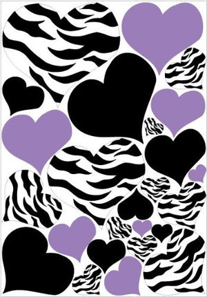 Zebra Print, Black and PURPLE Heart Wall Stickers,decals, Graphics